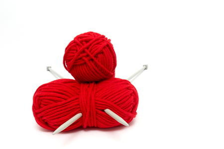 Balls of yarn with knitting needles isolated on white Фото со стока - 52362942
