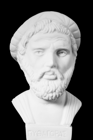 theorist: Pythagoras was an important Greek philosopher, mathematician, geometer and music theorist. White marble bust of him on black background