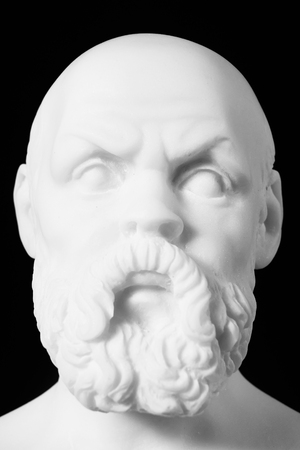 mathematician: White marble bust of the greek philosopher Socrates, isolated on black