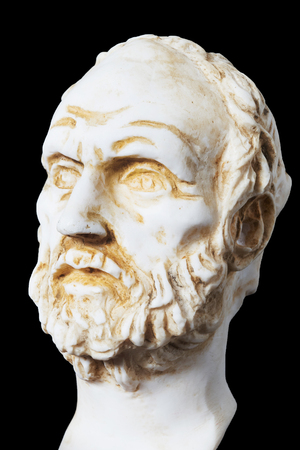philosopher: White marble bust of the greek philosopher Dimokritos, isolated on black