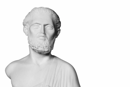 hippocrates: White marble bust of the greek  physician Hippocrates, isolated on white