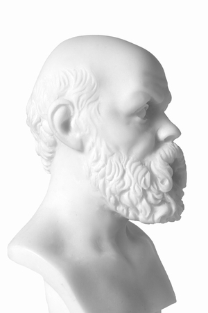 mathematician: White marble bust of the greek philosopher Socrates, isolated on white