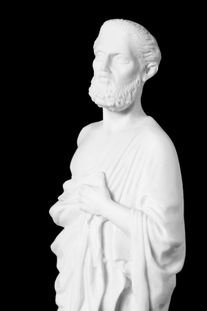 hippocrates: White marble bust of the greek  physician Hippocrates, isolated on black