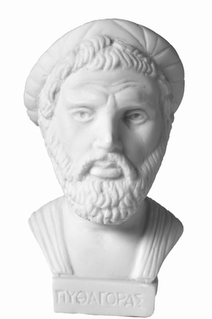 theorist: Pythagoras was an important Greek philosopher, mathematician, geometer and music theorist. White marble bust of him on white background