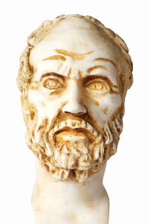 mathematician: White marble bust of the greek philosopher Dimokritos, isolated on white Stock Photo