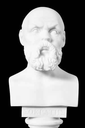 philosopher: White marble bust of the greek philosopher Socrates, isolated on black