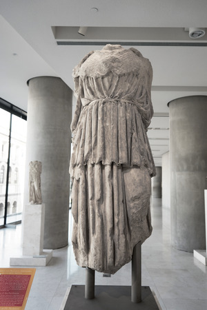 cope: ATHENS, GREECE - FEBRUARY 25, 2016: Interior view of the new Acropolis museum in Athens. Copy of Chryselephantine statue of Athena