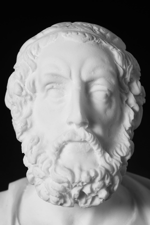 White marble bust of the greek poet Homer isolated on black Stock Photo