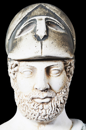 the statesman: Pericles was Ancient Greek statesman, orator and general of Athens during the Golden Age. White marble bust of him on black background