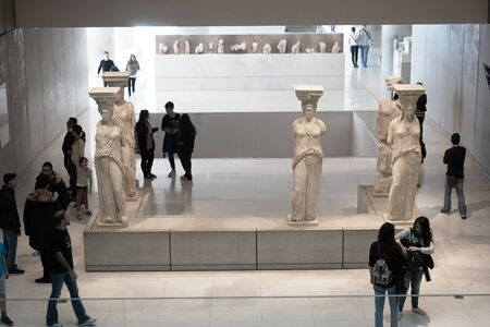 caryatids: ATHENS, GREECE - FEBRUARY 25, 2016: Interior view of the new Acropolis museum in Athens. Caryatids sculptures
