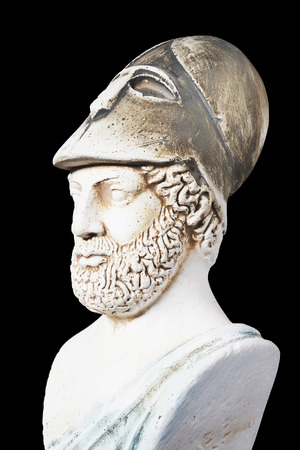 Pericles was Ancient Greek statesman, orator and general of Athens during the Golden Age. White marble bust of him on black background