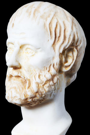mathematician: White marble bust of the greek philosopher Aristotle, isolated on black