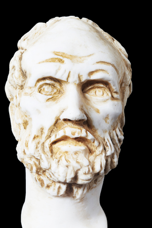 mathematician: White marble bust of the greek philosopher Democritus, isolated on black