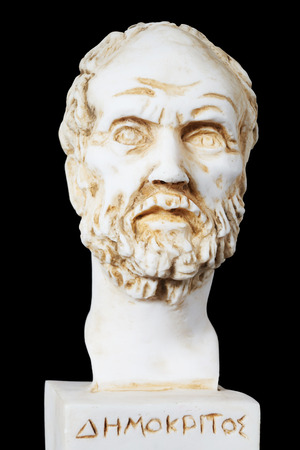 White marble bust of the greek philosopher Democritus, isolated on black Фото со стока - 60651009