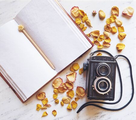 retro flowers: Vintage camera on marble background with blank notebook and dried roses leaves