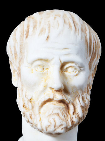 philosopher: White marble bust of the greek philosopher Aristotle, isolated on black