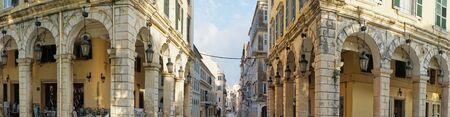 Panoramic view of historic center of Corfu town, LIston, Greece Stock Photo