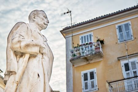 minister: Statue of Greek Prime Minister George Theotokis (1844-1916), in Corfu, Greece.