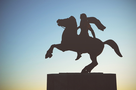 Silhouette of Alexander the Great Statue at sunset. Thessaloniki city, Greece Stock Photo
