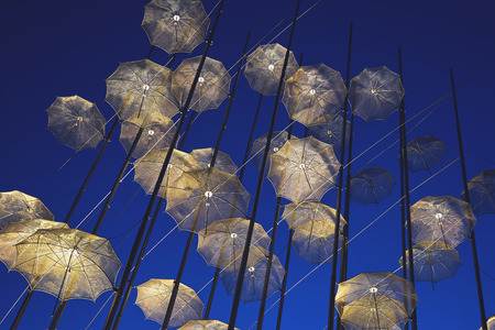 The Umbrellas Installation at the new waterfront of Thessaloniki during evening twilight. Stock Photo