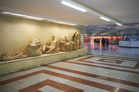 ATHENS, GREECE, FEBRUARY 25, 2016: Exhibitions of ancient artifacts found during the construction of Athens metro tunnels. Фото со стока - 75696796