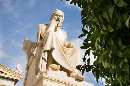 Marble statue of the ancient Greek Philosopher Socrates. Academy of Athens,Greece.