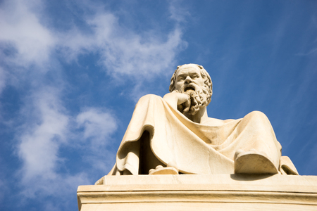 platon: Marble statue of the ancient Greek Philosopher Socrates. Academy of Athens,Greece.