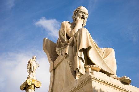 Marmerenbeeld van de oude Griekse Filosoof Socrates. Academie van Athene, Griekenland. Stockfoto