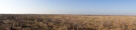 landscape of the delta of river Evros, Greece, panoramic view Stock Photo