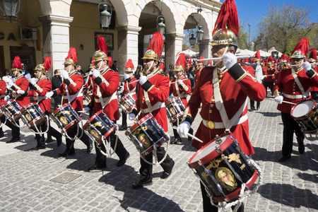 ionian: CORFU, GREECE - MARCH 25, 2017: Philharmonic musicians in the customary lament procession on the morning of national day of freedom, at the old town of Corfu.