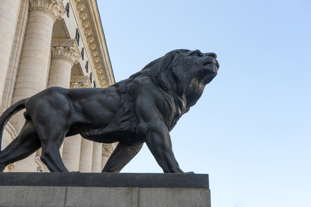 Palace of Justice in Sofia with lion monuments, Bulgaria Editorial