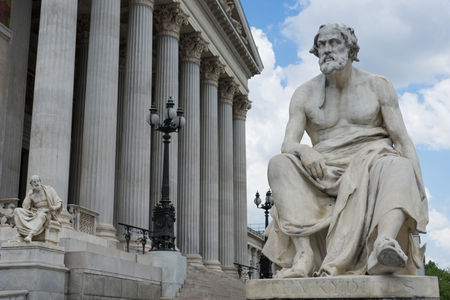 Statue portrait of greek historian Thucydides in front of the austrian parliament in Vienna Stock Photo