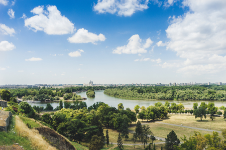 View of Sava and Danube rivers from kalemegdan fortress in Belgrade, Serbia. Stock Photo