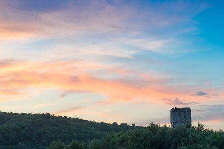 Τower of the Morfonou is the abandoned monument of the Amalfi monastery, Mount Athos, Chalkidiki, Greece