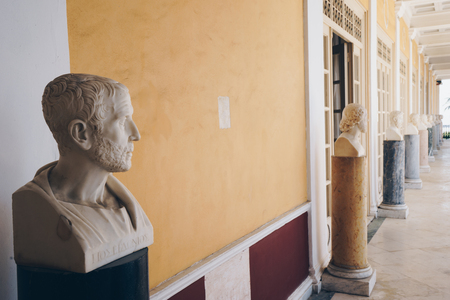 Philosophers busts placed in Achillion Palace, Corfu, Greece