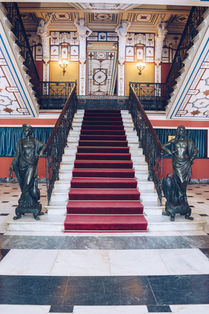 Achilleion palace of Empress of Austria Elisabeth of Bavaria, in Gastouri. Main hall and staircase. Editorial