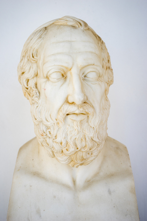 Philosopher bust placed in Achillion Palace, Corfu, Greece