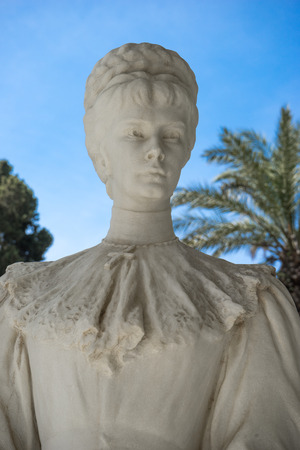 Statue of Empress Elisabeth from Austriain, in front of Achillion Palace, Corfu, Greece. Editorial