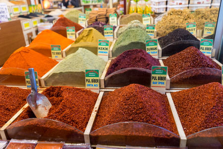 Konya, Turkey - December 16 ,2017:  Colorful spices at Konya s bazaar in  Turkey