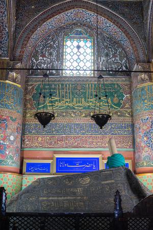 Konya, Turkey - December 15, 2017: Tomb of Mevlana at Mevlana museum in Konya.
