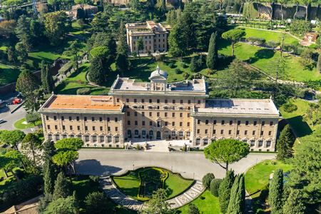 Palace of the Governorate and Vatican garden from Saint Peters Cathedral in Vatican city