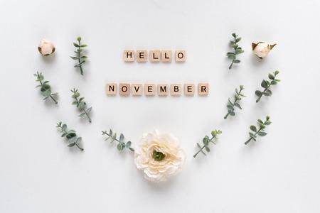 Hello November words on white marble background Imagens