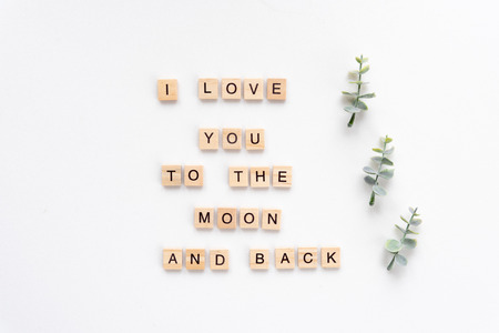 I love you to the moon and back words on white marble background
