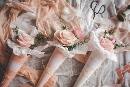 Flowers bouquets in paper cones