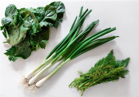 Fresh garden herbs over marble table. Green: green onions, dill and spinach Stok Fotoğraf