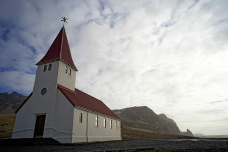 lutheran: Vik Church Iceland Stock Photo