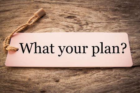 Cuál es el concepto de su plan Foto de archivo