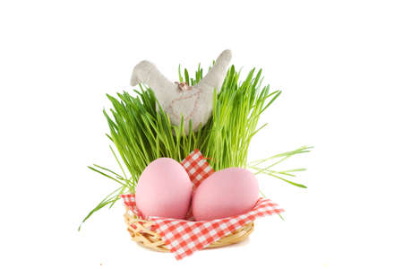 tuft: two pink eggs in basket and tuft of grass with textile bird