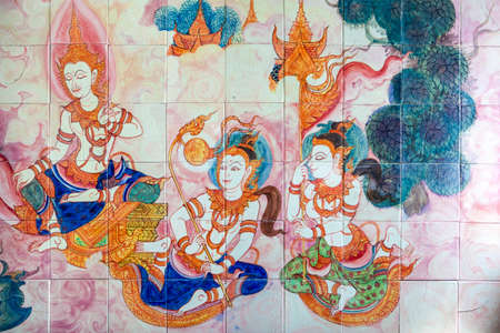 wall in the temple of Thailand
