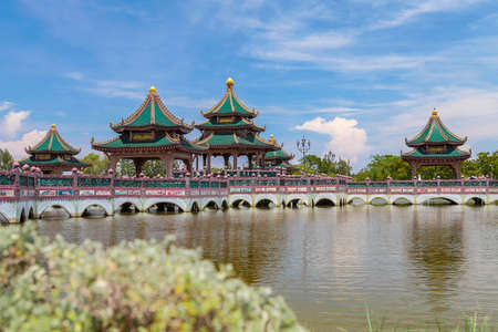 ancient near east: Chinese pavilion in the lake at Ancient City. Stock Photo